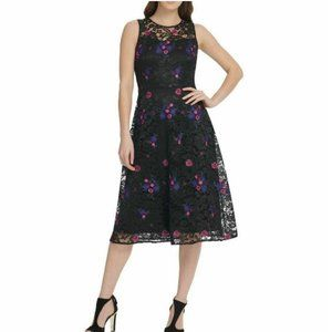 NWOT DKNY Fit & Flare Floral Lace Overlay Dress